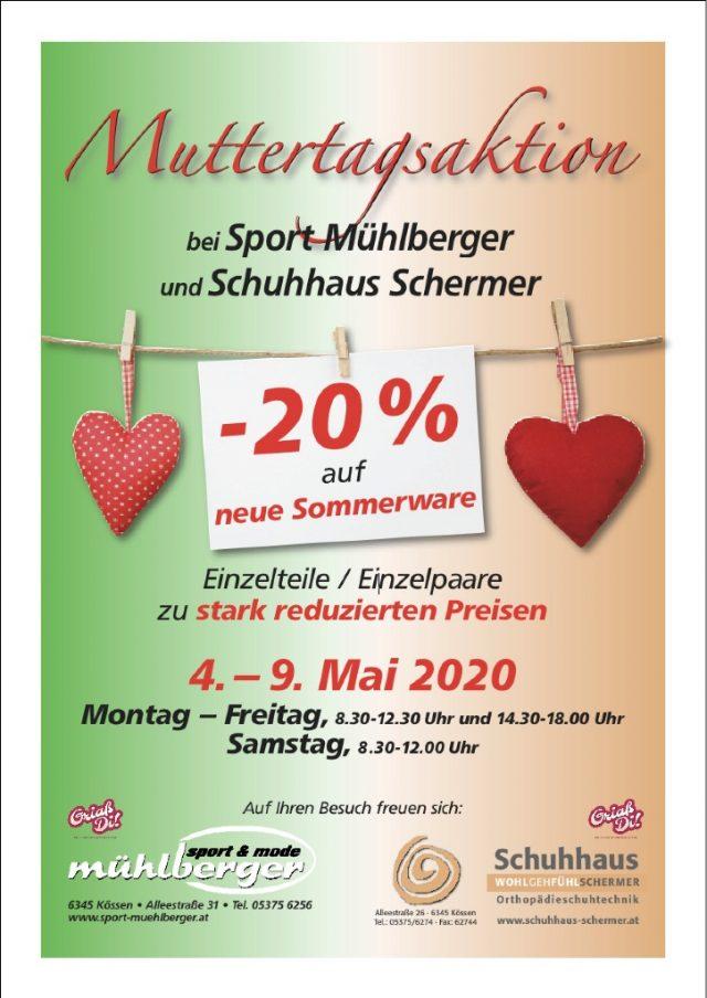 Muttertagsaktion 2020 bei Sport Mühlberger und Schuhhaus Schermer