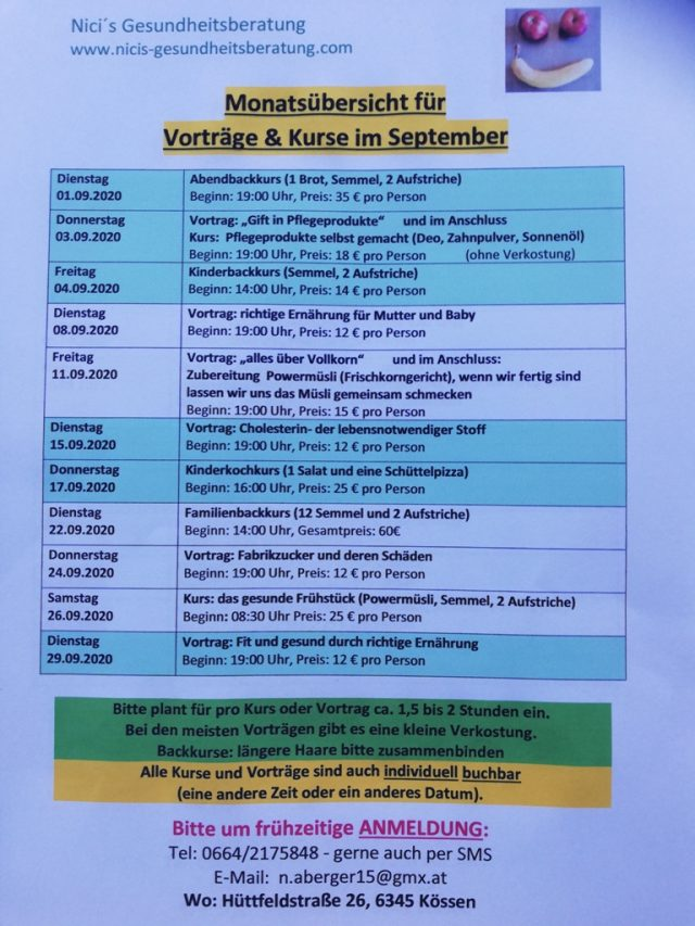 Nici's Gesundheitsberatung Monatsprogramm September 2020