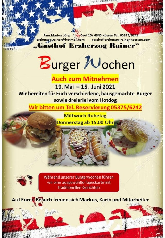 Burger Wochen 2021 im Gasthof Erzherzog Rainer