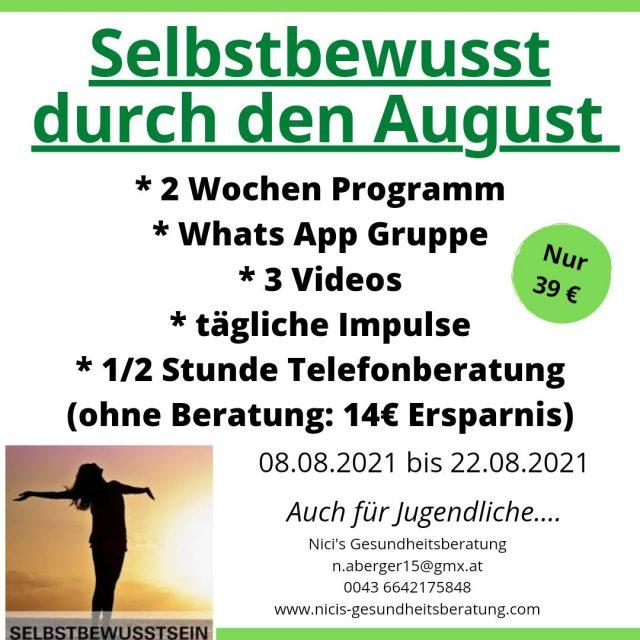 Nici´s Gesundheitsberatung / Programm August 2021